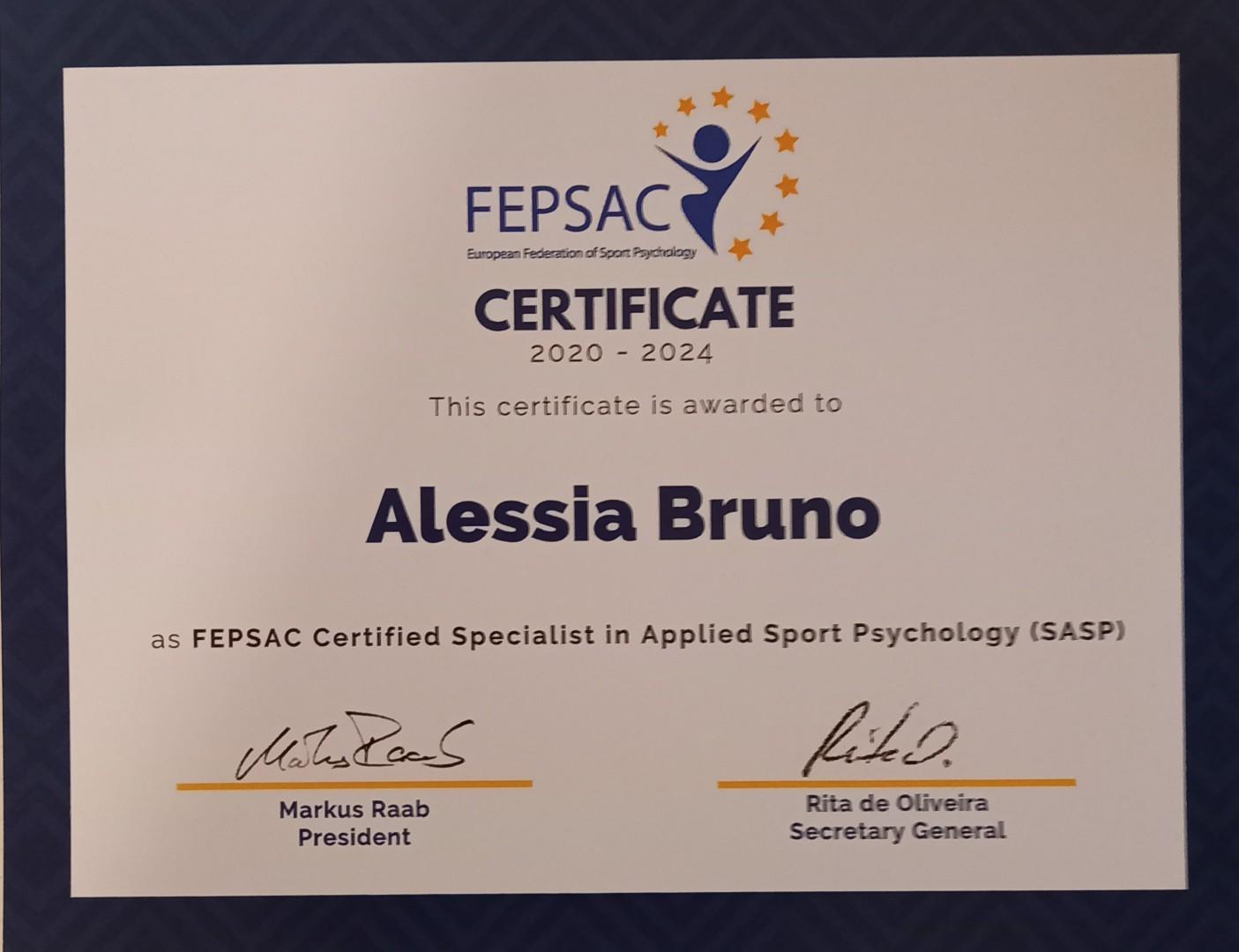 Accreditamento con la Federazione Europea di Psicologia dello Sport Applicata FEPSAC
